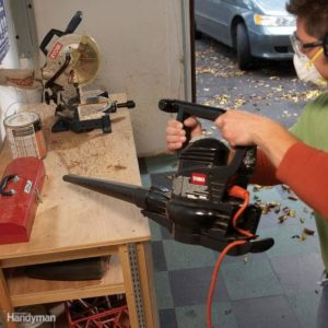 clean out the garage with a leaf blower.