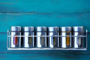 Use a magnetic rack to keep spices tidy.